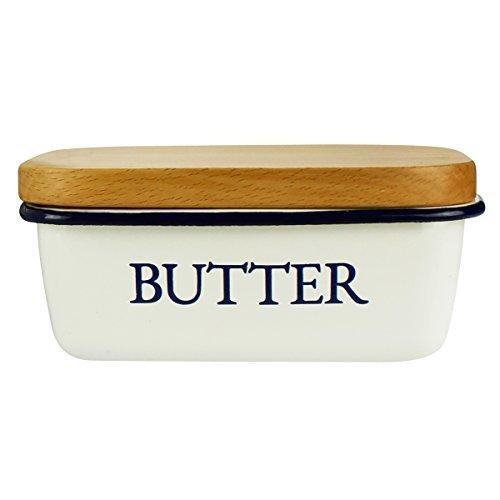 Butterdose - Multi-Funktion Emaille Butter Boot mit Deckel weiß - von SveBake