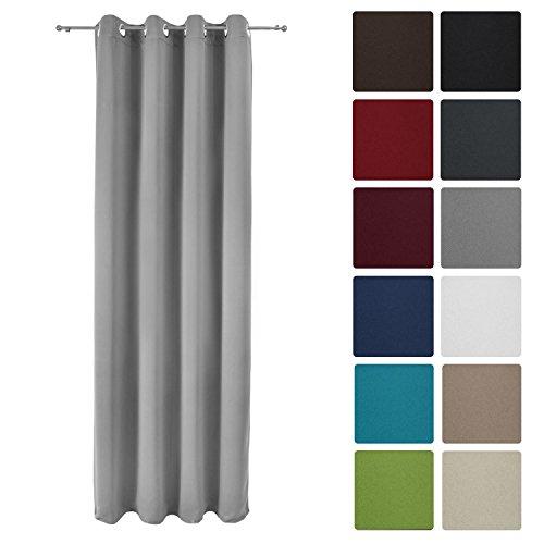 Beautissu Blackout-Vorhang Amelie mit Ösen - 140x245 cm Grau - Verdunklungsgardine Ösenschal Fenster-Schal Blickdicht