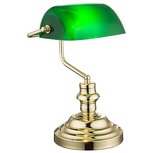 Nostalgie Antik Retro Tisch Lampe Banker Leuchte Schreibtischlampe Antique grün 2491K