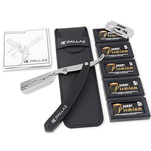 PALLAZ Premium Rasiermesser-Set mit 50 Derby Wechselklingen inkl. hochwertigen Etui + Anleitung für die perfekte Rasur