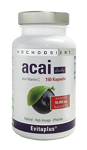 Acai DAILY 50.000mg – 150 Kapseln - 30:1 - Höchstdosierte Premium Qualität auch für Veganer