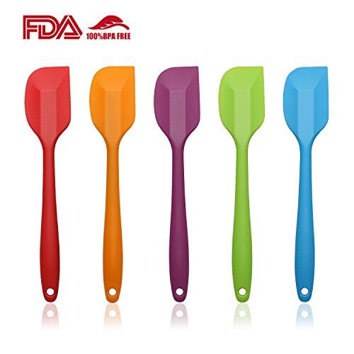 AEMIAO Teigspatel Set 5 Stück Hochwertiger Silikon-Spatel Hitzebeständiges Nicht-Stick-Gummi-Spatulas BPA Frei Silikon Teigschaber Pfannenwender hitzebeständig und Nahtloses Einteiliges Design