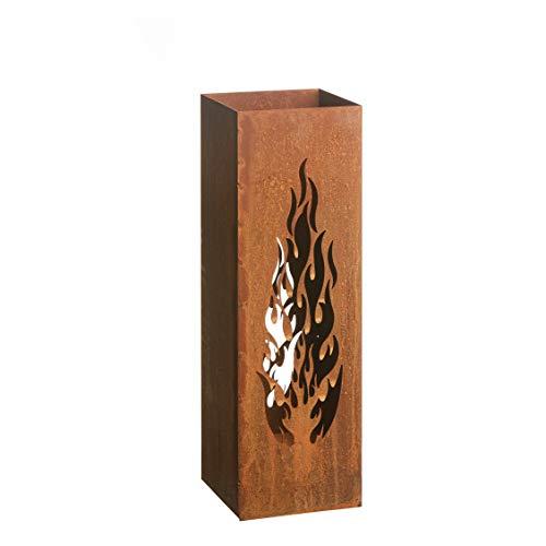 Gartenfreude Home Deko Säule Windlicht Feuersäule Laterne Design Flammen Edelrost 16 x 16 x 50 cm