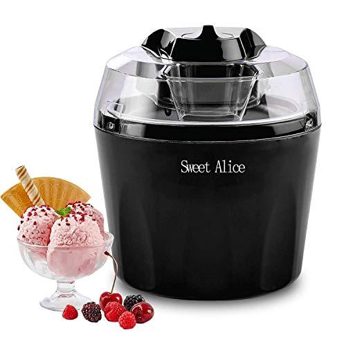 RspvD Eismaschine, Automatic Frozen Yogurt,Sorbet und Eiscreme Machine, BPA-freie, 1,5-Liter-Gefrierschale, mit Abschaltautomatik,Schwarz