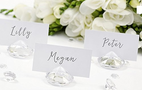 Platzkartenhalter Tischkartenhalter Memohalter Hochzeit Taufe Kommunion Festtafel | Diamant Acryl | 10 Stück transparent klar
