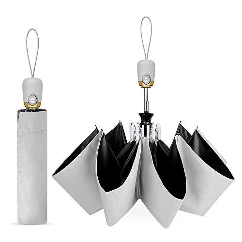 Covok Automatischer Anti-UV-Sonnenschirm Aus Schwarzem Gummi |99% UV-Schutz |Regen Und Regenschirm|Taschenschirm Mit Einem Knopf Zum Automatischen ÖFfnen Und SchließEn |Sonnenschirm|Unisex-Regenschirm