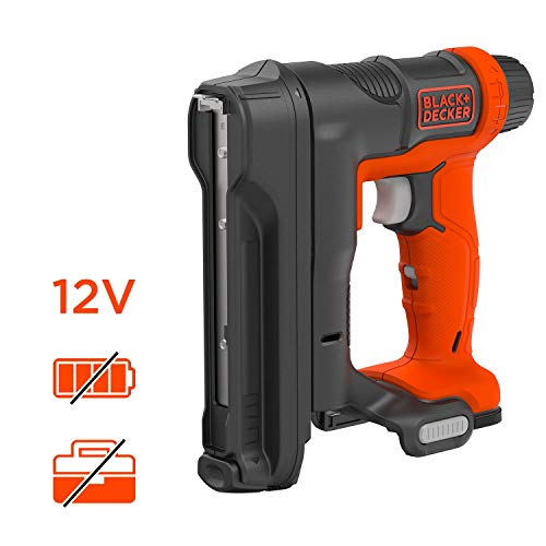 Black + Decker Akku-Tacker (Nagelgröße 14 - 16 mm, Kapazität für 86 Klammern, 20 Impulse/min. variable Schlagkrafteinstellung, für Polster- und Holzarbeiten, Lieferung ohne Akku und Ladekabel) BDCT12N
