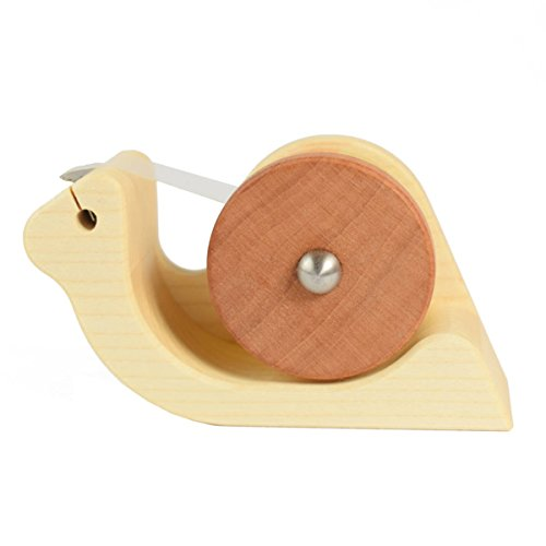 4betterdays Klebefilmabroller 'Schnecke' aus Ahorn und Birnenholz inkl. Gratis Klebefilm 15 mm - Handgemacht in Deutschland