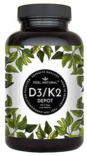 Vitamin D3 + K2 Tabletten. 180 Stück. Hochdosiert mit 5.000 IE Vitamin D3 und 200 µg Vitamin K2 pro 5-Tagesdosis. K2 MK-7 aus Natto 99% All Trans. Ohne Zusätze. Hergestellt in Deutschland