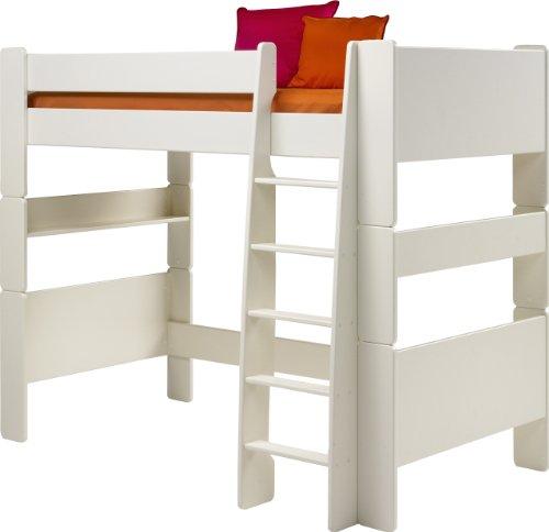 Steens For Kids Kinderbett/ Hochbett, inkl. Lattenrost und Absturzsicherung, Liegefläche 90 x 200 cm, MDF, weiss