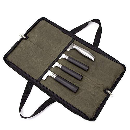 QEES GJB440 Messertasche für Küchenutensilien, mit 2 Handgriffen, 4 Fächern, strapazierfähig, mit Doppelreißverschluss, Schwarz