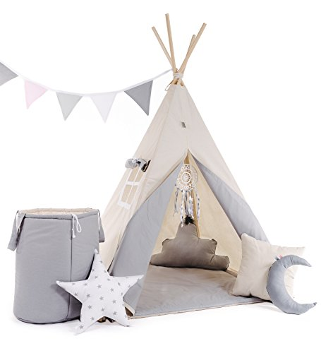 Kinder Spielzelt Teepee Tipi Set für Kinder drinnen draußen Spielzeug Zelt Indianer Indianertipi mit Fenster usw. Tipi ohne Zubehör (grauer Wolf)