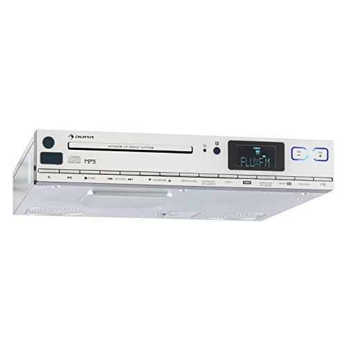auna KCD-20 • Küchen-Radio • Unterbauradio • 2 x 6,5 cm (1,5') Breitbandlautsprecher • MP3-CD-Player • UKW Tuner • RDS • 20 Senderspeicherplätze • USB Port • AUX • LCD-Display • Fernbedienung • silber