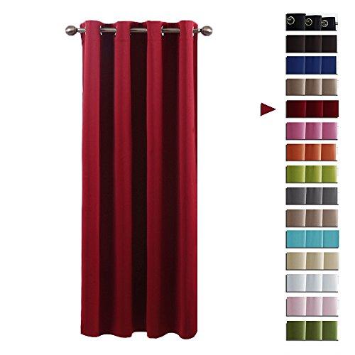 Blickdicht Vorhang mit Ösen Lichtundurchlässig - PONY DANCE 1 Stück 210 x 132 cm (H x B), Rot Verdunkelungsvorhänge Thermo-Vorhang für Kindergarten fashion home