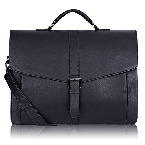 Estarer Aktentasche Herren Laptoptasche 15.6 Zoll Schwarz Businesstasche aus PU Leder