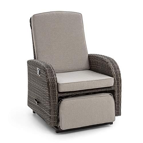 blumfeldt Comfort Siesta Luxury Sessel • verstellbare Rückenlehne • Fußteil • Material Bezug: Polyester • 8 cm Polsterung • integrierte Schwingfunktion • Gasdruckfeder • Stahlrahmen • dunkelgrau