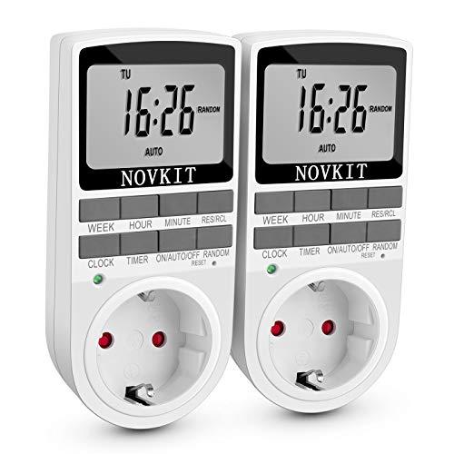 Digitale Zeitschaltuhr Steckdose mit 10 konfigurierbaren Schaltprogramme und einbruchsicheren Zufallsschaltung (2er Pack, 16A / 3680W)