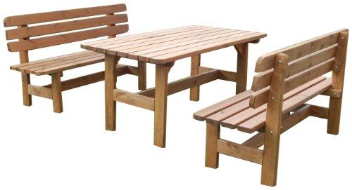 GASPO Gartenmöbel-Set 'Kitzbühel' | Tisch & zwei Bänke aus massivem Kiefernholz | ideal für Garten und Terasse