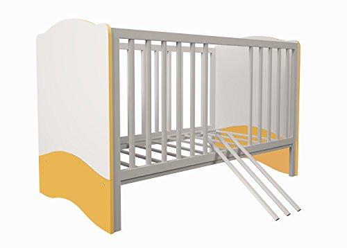 Polini Kids Babybett Kombi-Kinderbett Simple 140 x 70 cm (Weiß-Gelb)