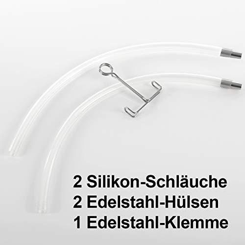2 Stück Gräfenstayn Dampfentsafter Silikon-Ersatzschlauch Abfüllgarnitur - Doppelpack im Set - lebensmittelecht und temperaturbeständig