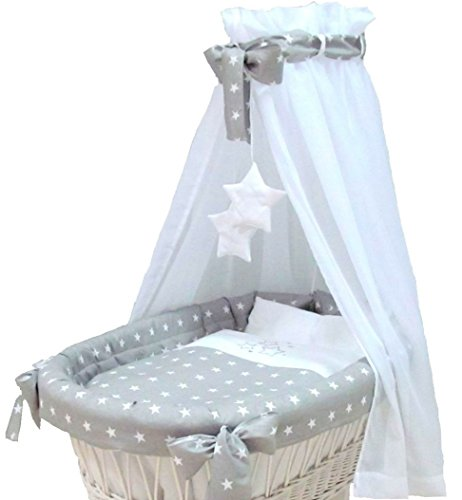 Babymajawelt Ersatz Bett Set für Stubenwagen - 7 Teile, Bettwäsche, Nestchen, Himmel, Steppbett, Spannbetttuch (ohne Stubenwagen) (Stars grau)