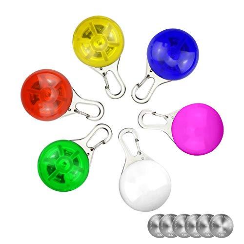 6 Stück wasserdicht Spotlit Hunde/Katzen Halsband Licht, Sicherheit LED-Leuchten für Hunde und Katzen, Wetter beständig Licht Up Dog Halsband mit 3 blinkende Modi, mit 6 extra Ersatz Batterien