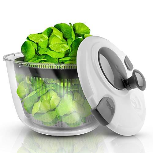 Lacari  Salatschleuder mit großem Fassungsvermögen – Neuartiges Design mit Ablaufsieb - Einfaches Bedienen durch Drehen der Kurbel - GRATIS EBook