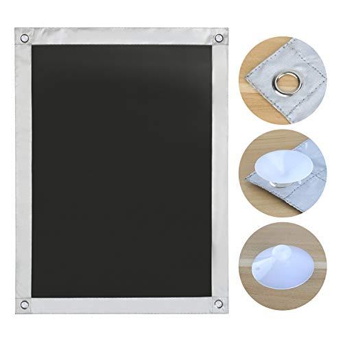 OBdeco Thermo Rollo Dachfenster Sonnenschutz Verdunkelungsrollo für Velux Hitzeschutz ohne Bohren mit Saugnäpfen (Schwarz, 60x93cm)
