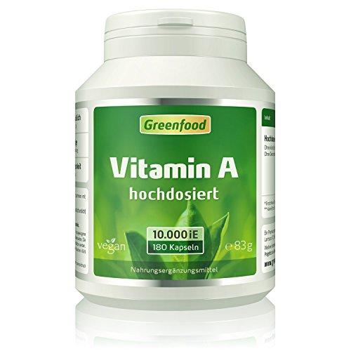 Vitamin A, 10000 iE, extra hochdosiert, 180 Vegi-Kapseln – das Augenvitamin, für ein gutes Sehvermögen, gegen Nachtblindheit und müde Augen. OHNE künstliche Zusätze. Ohne Gentechnik. Vegan.