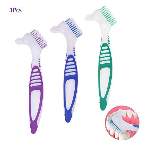 3 Stücke Prothesenbürste, Zahnbürste für Prothesen Falsche Zähne, AUHOTA Hygienic Prothesenreinigungsset für die Restaurative Pflege - Mehrschichtborsten und Esrgonomische Gummigriffe (3 Farben)