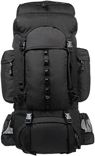 AmazonBasics - Wanderrucksack mit Innengestell und Regenschutz, 55 L, Schwarz