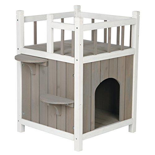 Trixie natura Cat's Home mit Balkon, 45 × 65 × 45 cm, grau/weiß