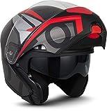 MOTO Helmets F19 'Runner Red' · Motorrad-Helm · Klapp-Helm Modular-Helm Flip-up Integral-Helm Motorrad-Helm Roller-Helm Full-Face Scooter-Helm · ECE Sonnenvisier Schnellverschluss Tasche XL (61-62cm)