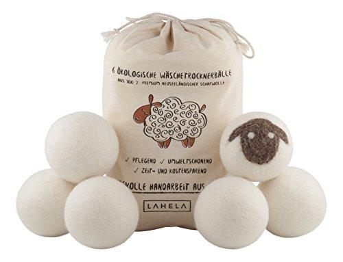 LAHELA Trocknerbälle 6er Pack - Ideal als natürliche Alternative für Weichspüler. Aus 100% neuseeländischer Premium-Schafwolle. Pflegend, umweltschonend, zeit- und kostensparend. Wäschetrockner Bälle Trocknerkugeln für Wäschetrockner. Handarbeit aus Nepal.