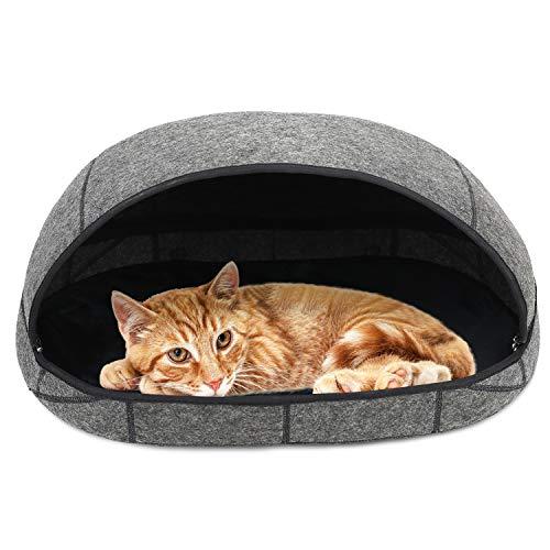 Filz Katzenbett Haustiere Schlafzone Kuschelhöhle Haustierbett, Filz Katzenhöhle Bett mit abnehmbarem und zusammenklappbarem Reißverschluss, Zeltbett für Haustiere