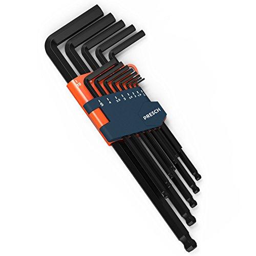 Presch Innensechskant Satz 13 tlg mit Kugelkopf HX - Profi Innensechskantschlüssel Set - Schlüssel klein und kompakt mit Halter