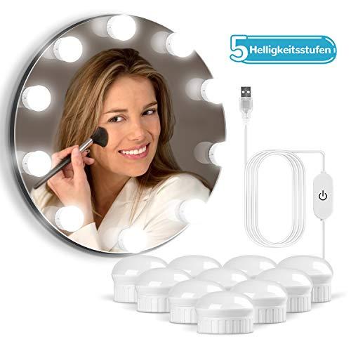 OUSFOT Led Spiegelleuchte Schminktisch Beleuchtung Hollywood Stil Schminklicht für Spiegel mit Schalter Make Up Licht 10 Dimmbar Verstellbare Länge Kaltweiß Verpackung MEHRWEG