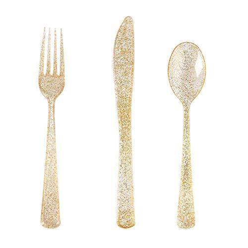 Amycute 75 teiliges Einweg Plastik Besteck Set Einweg Gabel, Messer, Löffel aus Plastik mit Rose Gold Oberfläche,Groß für Partys, Geburtstage, BBQs, Picknicks.