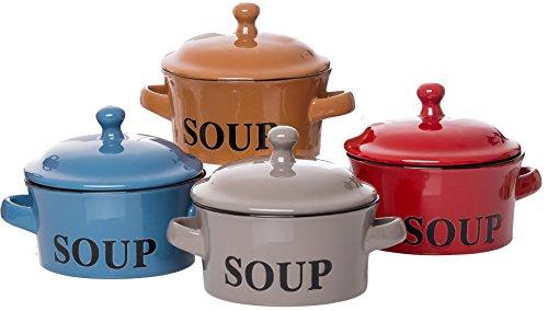 Ritzenhoff & Breker Suppentassen Regina mit Deckel und Henkel, 4er Set, je 460 ml, farblich sortiert