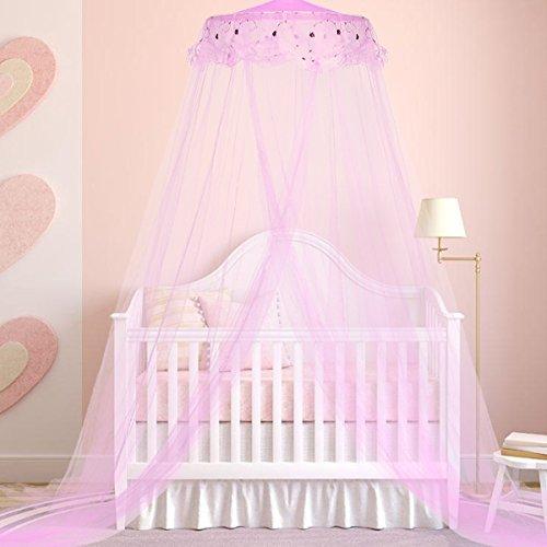 Jeteven Betthimmel Baldachin Mückenschutz Insektenschutz netz für Doppelbetten Baby Kid Kinder daheim oder für die Reise,Hohe 260cm. Rosa (Max. 2x2m Bett)