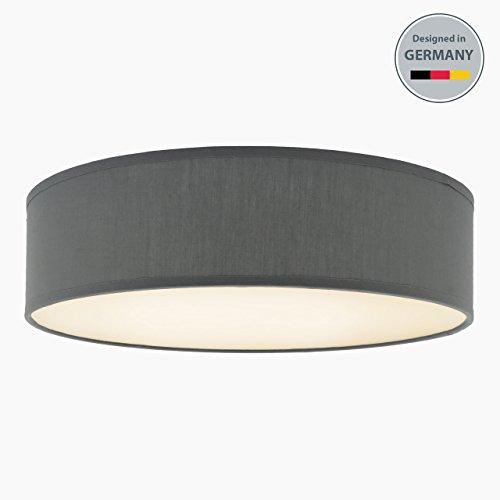 B.K.Licht Deckenleuchte 3-flammig Deckenlampe grau rund Stoff Deckenlampe