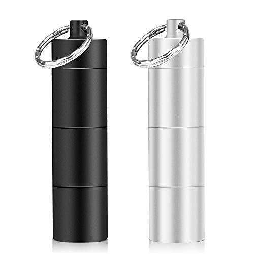Opret 2 Pack Pillendose Schlüsselanhänger Wasserdicht mit 3 teilbaren Fächer, kleine Tablettendose für Unterwegs,pillendose klein