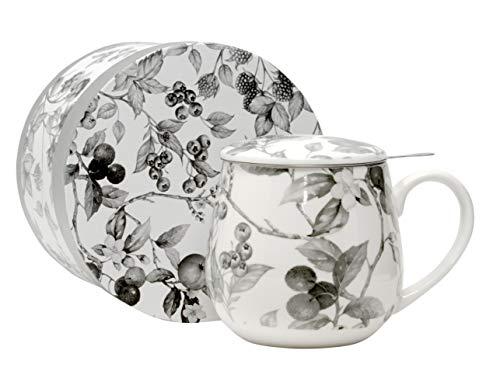 Duo Tee-Tasse Teebecher Set mit Teesieb Edelstahl und Deckel Porzellan Teetasse bauchig mit Sieb Geschenk-Tasse Blumen Cup with Tea Infuser 400 ml 3teilig in Geschenkbox Becher Kräuter-Teetasse