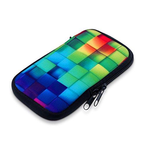 kwmobile Handytasche für Smartphones M - 5,5' - Neopren Handy Tasche Hülle Cover Case Schutzhülle in Mehrfarbig Grün Blau