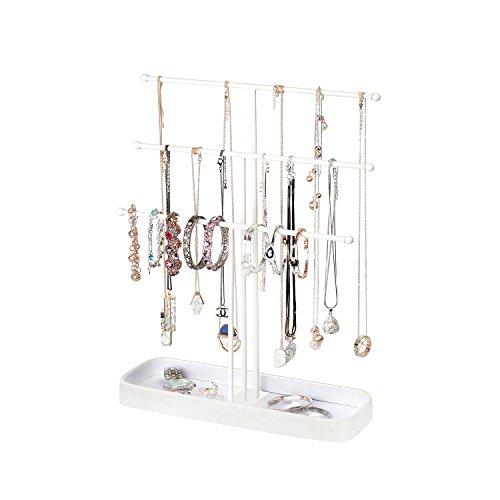 JackCubeDesign Metall 3 Tier Schmuckständer Baum Veranstalter Armband Halskette Halter Rack Hanger Tower mit Ohrring Ring Tray Storage Tabletop (Weiß, 30,7 x 10,4 x 40,8 cm) -: MK320F