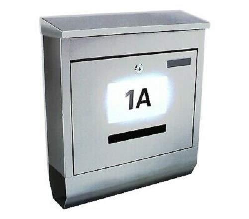 Solar Briefkasten mit Zeitungsrolle Solar-Leucht Hausnummer Postkasten Design