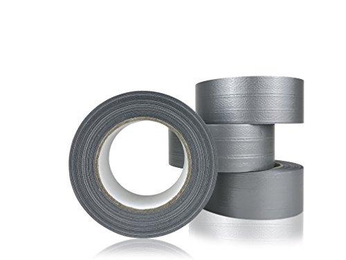4 Rollen (200 Meter) - PROFI PANZERTAPE - diffutec POWER PERFORMANCE - 50 mm x 50 Meter / Rolle , stark klebend - handreißbar - Farbe: silbergrau - | Steinband | Panzertape | Reparaturband