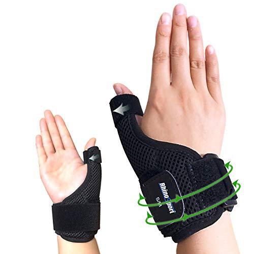 RHINOSPORT Daumenbandage Daumenschiene Schützt Sattelgelenk & Daumengrundgelenk Daumenorthese für Entlastung des Handgelenks bei Verletzungen und Sehnenscheidenentzündung - Rechts (S/M)