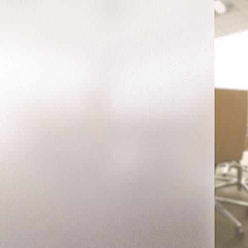 Rabbitgoo Privatsphäre Fensterfolie Milchglas Film Sichtschutzfolie Matt Mattiert Ohne Kleber Leimfrei Fenster Aufkleber Anti-UV Folie Selbstklebend Dekorativ Glas Fenster Anziehbild für Privatleben Wohnung Haus Apartment Wohnzimmer Schlafzimmer Küche Lobby Vorhalle Büro Beschprechungszimmer, 44.5 x 200CM, mattiert
