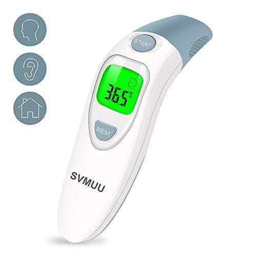 SVMUU Fieberthermometer Stirnthermometer Ohrthermometer, Infrarot Thermometer für Babys, Erwachsene und Objekte,1 Sekunde Messzeit, Speicherfunktion, Hochtemperaturalarm genehmigt CE/ROHS/FDA